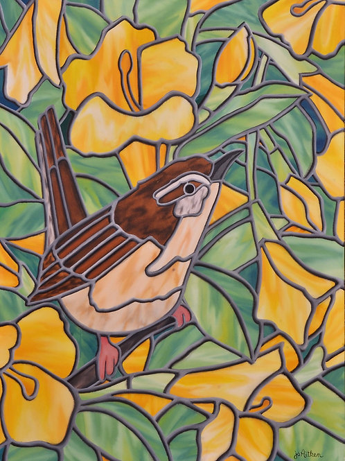 """JS Aitken's 18x24"""" oil painting Jasmine in Profusion shows a wren nestled among beautiful Jasmine in her stained glass style."""