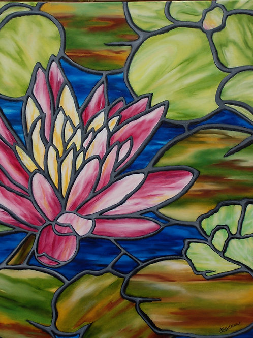 Oil painting of a pink waterlily by JS Aitken in style of stained glass