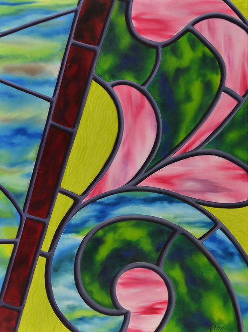 Oil painting of floral design by JS Aitken in style of stained glass