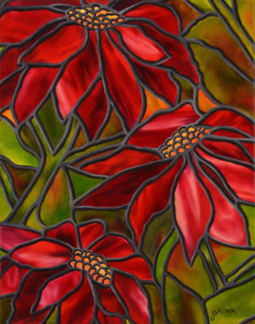 Poinsettias oil painting by JS Aitken