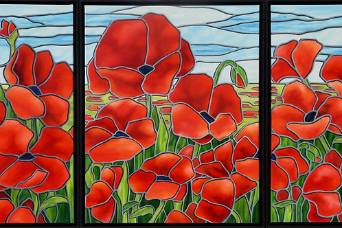 Field of Remembrance Triptych, by JS Aitken, is a bold reminder of the sacrifice our soldiers have made for our country.