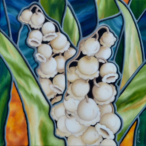 Sweet Gesture, by JS Aitken, is an oil painting of Lily of the Valley in her stained glass style.