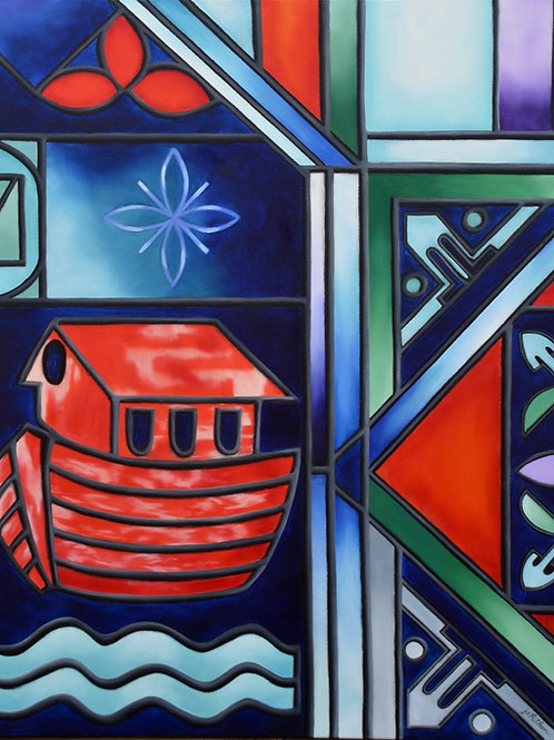Lifeboat is an oil painting by JS Aitken inspired by the Biblical story of Noah and the ark.