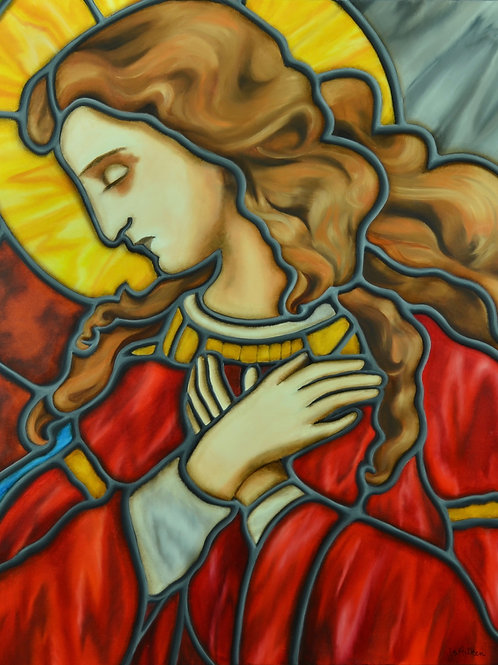 Oil painting of a Lady in Red by JS Aitken in style of stained glass