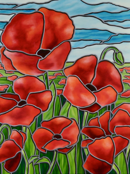 """JS Aitken's Poppies, 24x30"""", painted in her stained glass style, illustrates the beauty of poppies in the sun."""