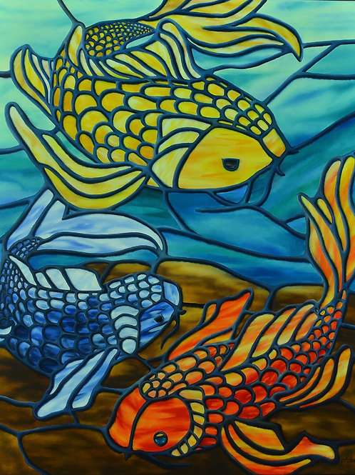 Oil painting of colorful koi fish in a pond by JS Aitken in style of stained glass