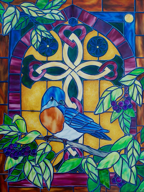 Oil painting of a bluebird in front of a stained glass window by JS Aitken in style of stained glass