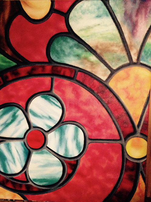 Oil painting of a flower design by JS Aitken in style of stained glass