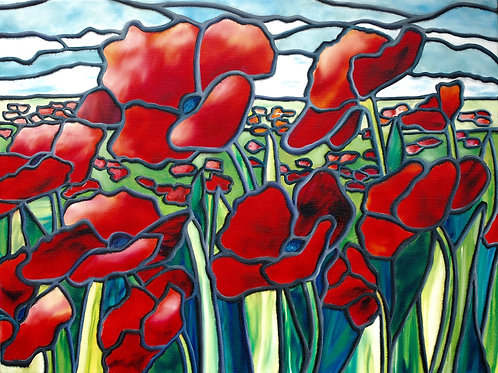 Oil painting of red peonies in a field by JS Aitken in style of stained glass