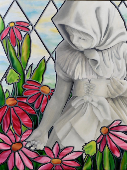 Tranquil Garden by JS Aitken is an oil painting of a statue of a young girl in a garden in Aitken's stained glass style.