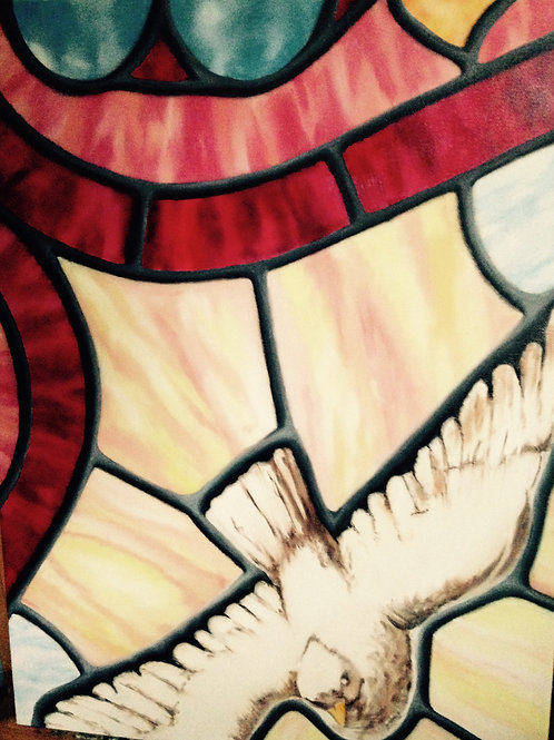Oil painting of a soaring dove by JS Aitken in style of stained glass