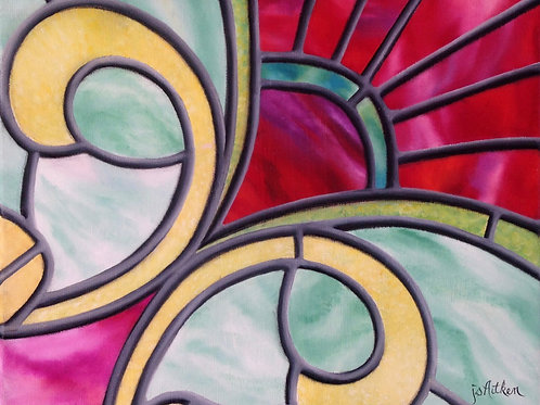 JS Aitken's oil painting, Crimson Pop, with its bold colors in her beautiful stained glass style.