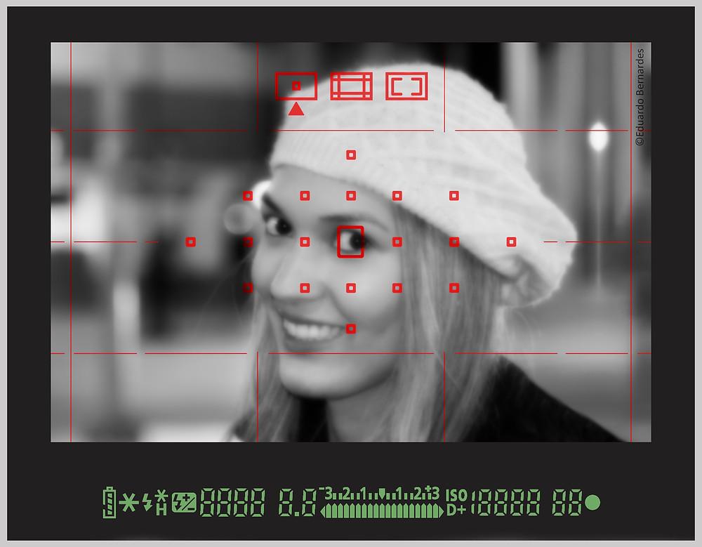 Pontos de foco no modo manual com seleção de ponto no centro.