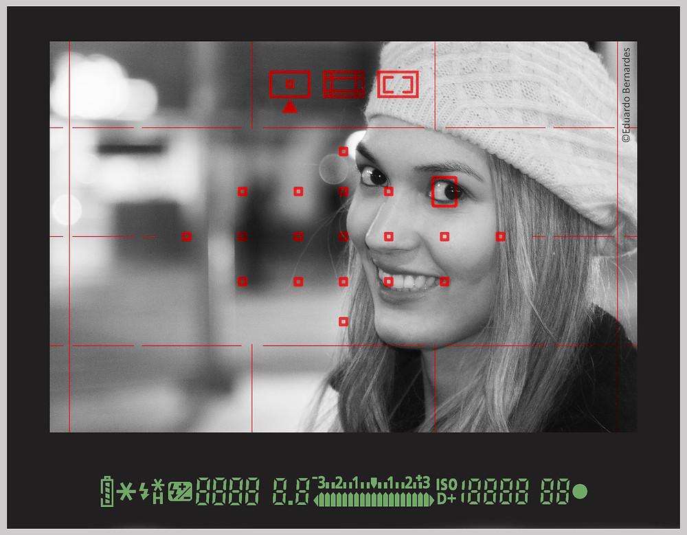 Seleção dos pontos de foco no modo manual com o ponto localizado sobre o olho selecionado.
