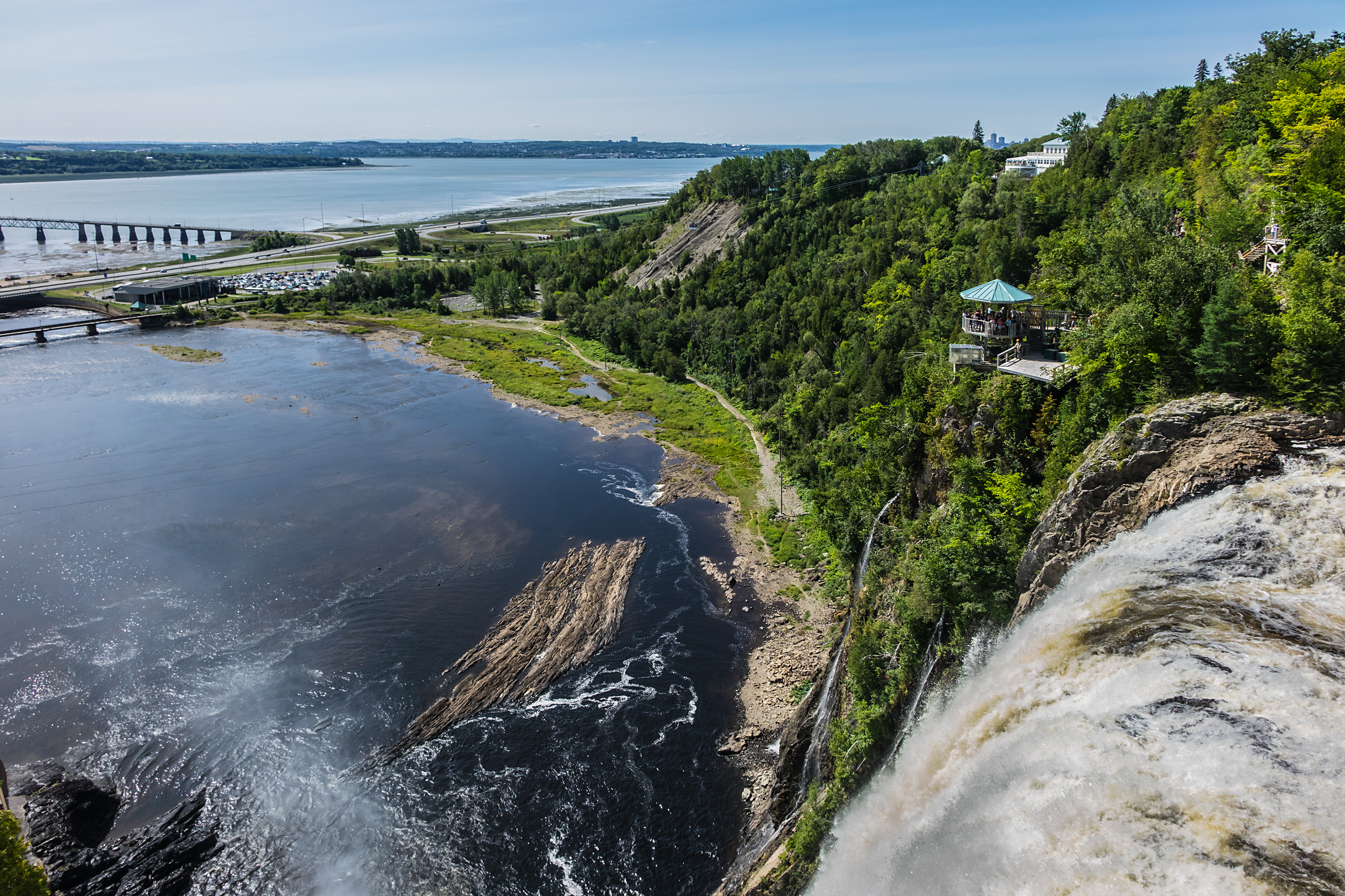 View of 275 feet (84 meters) high Montmorency falls (located 10 km east of Quebec City).jpg Quebec,