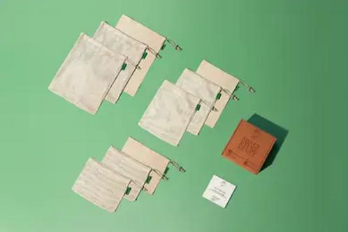 Organic Cotton Reusable Produce Bags, Set of 9