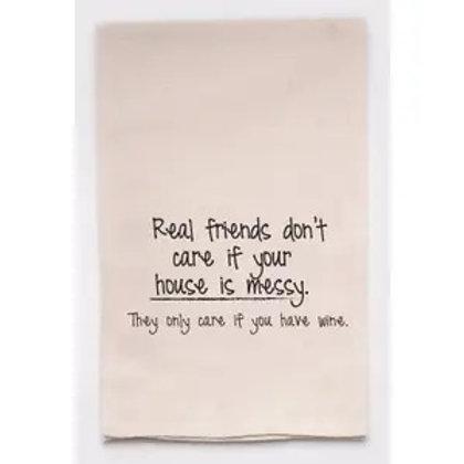 Tea Towel Real Friends Love Wine