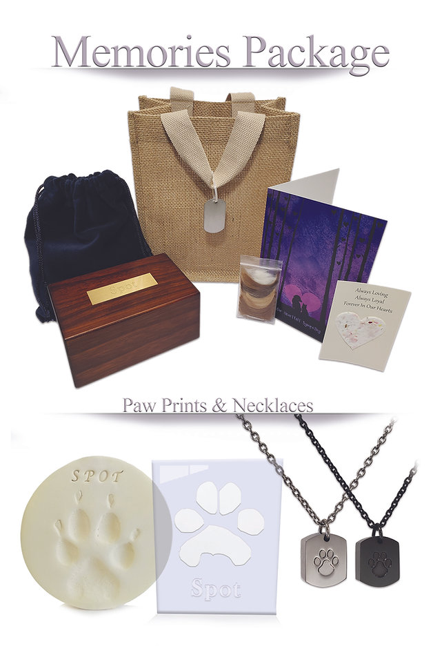 memories package paw prints and necklaces