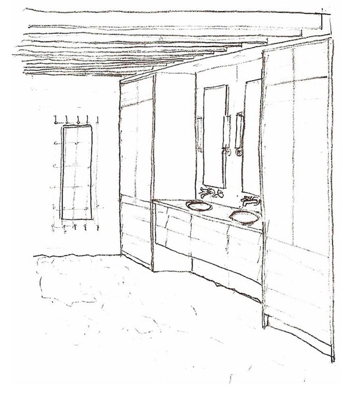 master bath pencil rendering