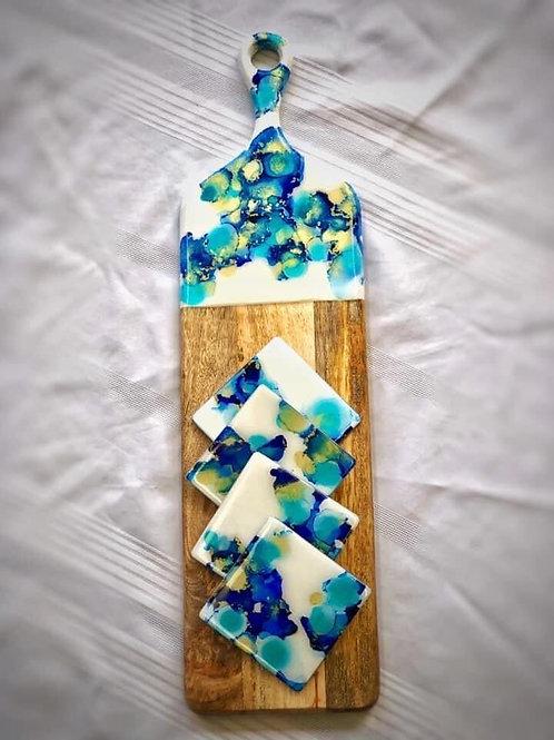 Chopping board and matching coaster set