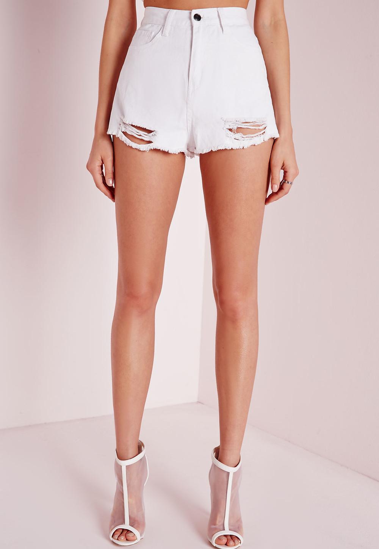ASOS- White Ripped Jean Shorts
