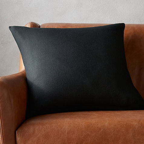 """20"""" LINON BLACK PILLOW WITH FEATHER-DOWN INSERT"""