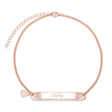 Engravable Name Bar Rose Gold Anklet with Heart Charm $33.60