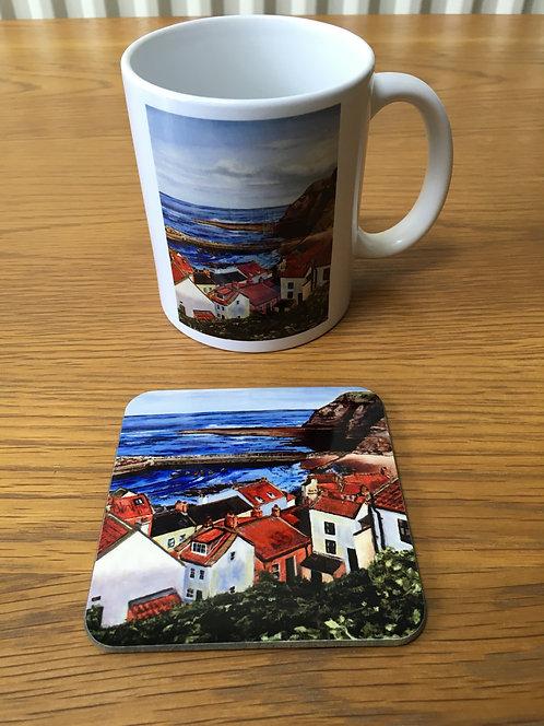 Staithes Mug and Coaster
