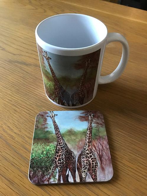 Giraffes Mug and Coaster