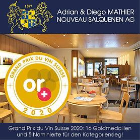 Grand Prix du Vin Suisse, 16x Gold, 5 Nominierte, Adrian & Diego Mathier Nouveau Salquenen