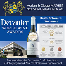Decanter World Wine Awards, Ambassadeur des Domaines Diego Mathier blanc, bester Schweizer Weisswein