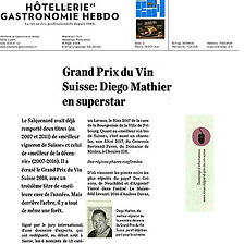 Hotellerie & Gastronomie Hebdo, Grand Prix du vin Suisse, Diego Mathier