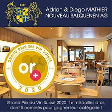 Grand Prix du Vin Suisse, 16 médailles d'or, 5 nominés, Adrian & Diego Mathier Nouveau Salquenen AG
