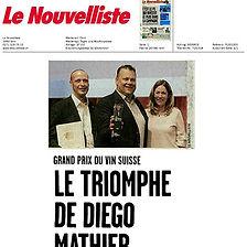 Le Nouvelliste, Dieo Mathier, Grand Prix d Vin Suisse, encaveur de l'année