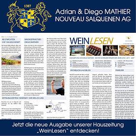 Hauszeitung, Kundenmagazin, WeinLesen, Adrian & Diego Mathier Nouveau Salquenen AG