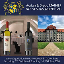 St. Galler Pfalz, Hofkeller, Weindegustation, Adrian & Diego Mathier Nouveau Salquenen, 2020