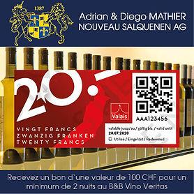 Bon cadeau CHF 100, canton Valais, BnB Vino Veritas, Restaurant Barrique, Adrian & Diego Mathier Nouveau Salquenen AG