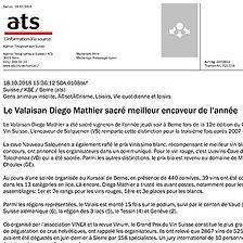 Agence Télégraphiqe Suisse, Diego Mathier, meilleur encaveur de l'année