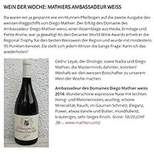 Blick, Wein der Woche, Ambassadeur des Domaines Diego Mathier blanc, Schweizer Winzer des Jahres
