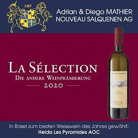 LA Sélection, Basel, Die andere Weinprämierung, Bester Weisswein des Jahres, Heida Les Pyramides, Diego Mathier