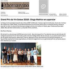 Thomas Vino, Diego Mathier, Grand Prix du Vin Suisse, meilleur vigneron de Suisse