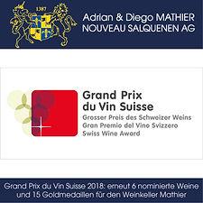 Diego Mathier, Schweizer Winzer des Jahres, Grand Prix du Vin Suisse