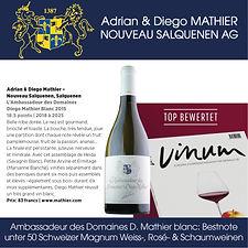 Vinum Magazin, Ambassadeur des Domaines Diego Mathier blanc, bester Schweizer Weisswein, Bestnote