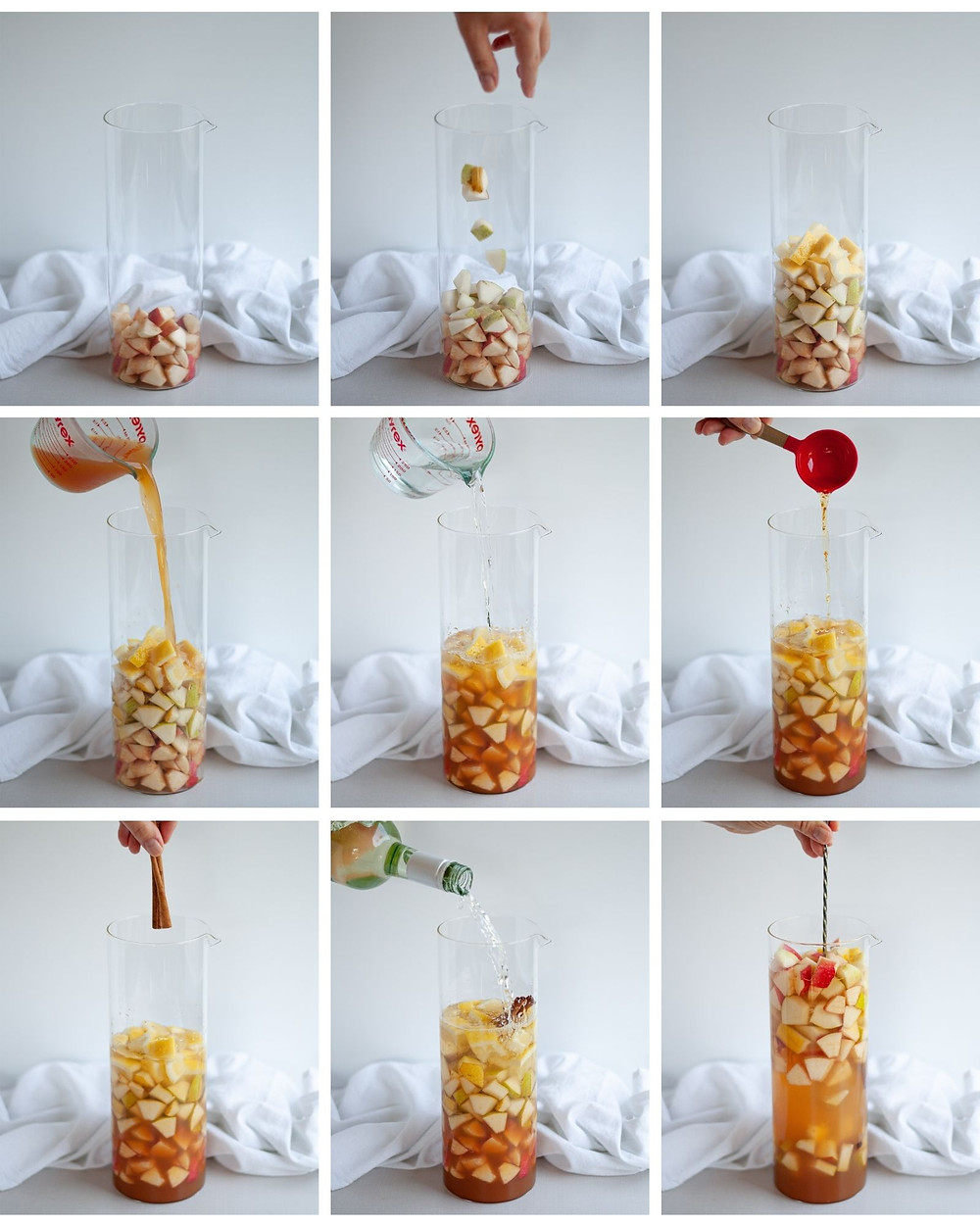 Collage showing how to make sangria step-by-step.