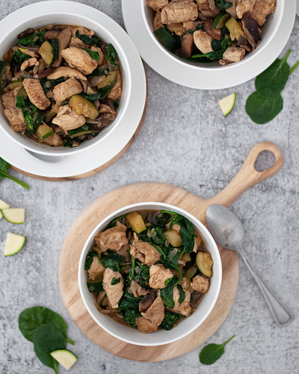 Top down view of three bowls of this healthy chicken recipe