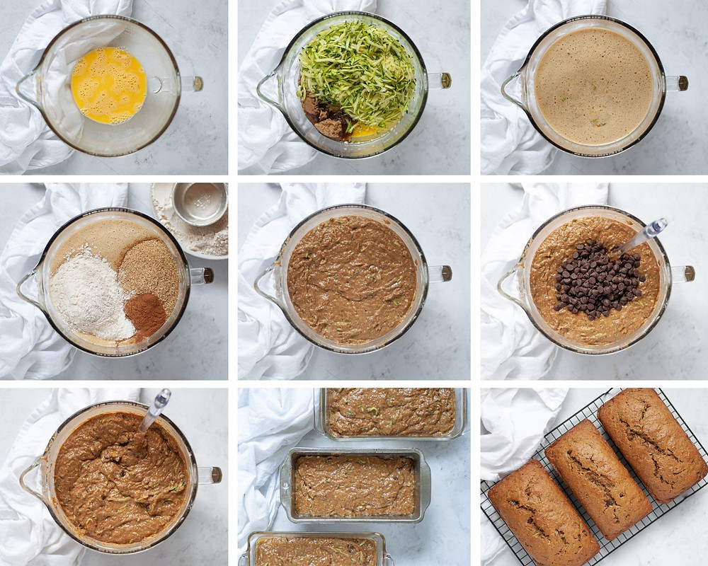 Collage of 9 photos showing step by step how to make zucchini bread.