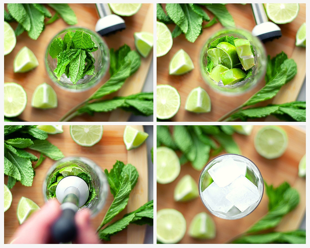 Top down step-by-step process shots for making a mojito mocktail.