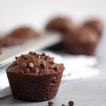 HEALTHIER DOUBLE CHOCOLATE ZUCCHINI MUFFINS