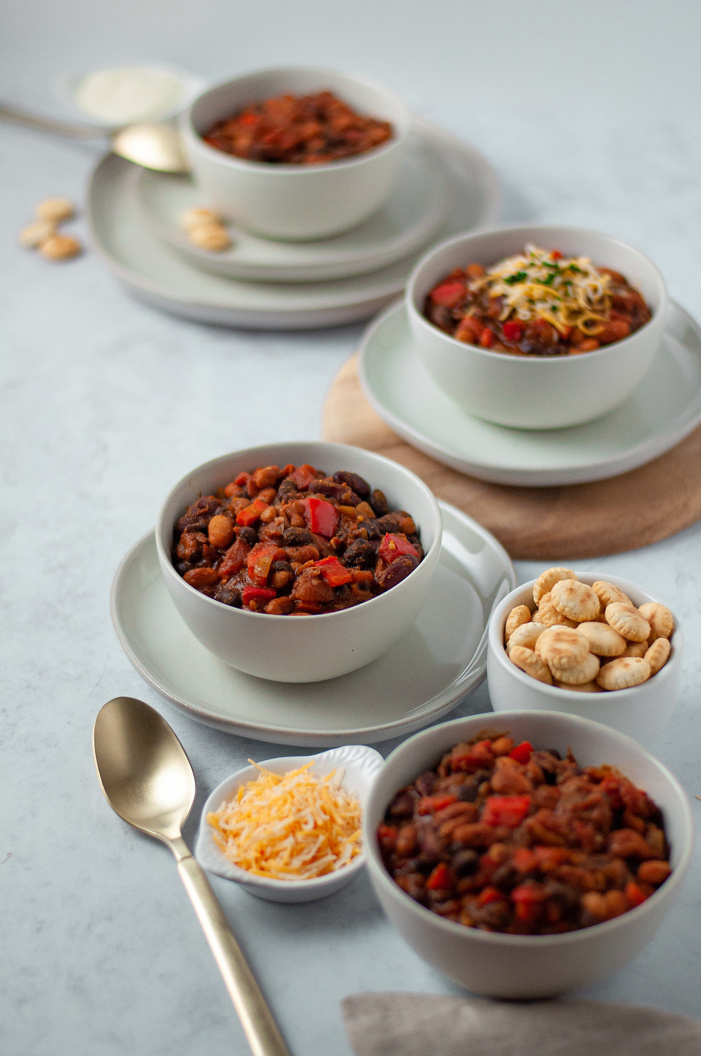 Another view of this vegetarian chili served up and ready to eat along with a variety of topping options