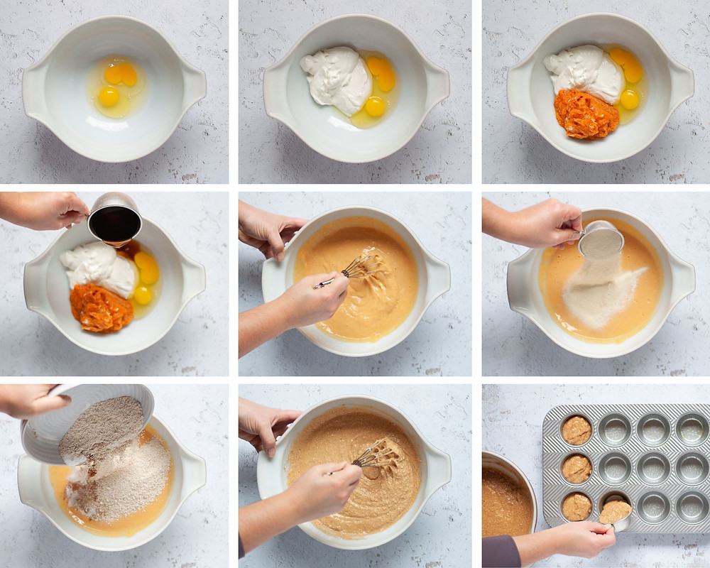 9 image collage showing the steps for making these healthy pumpkin muffins. Includes mixing of wet ingredients, mixing in dry ingredients, and spooning batter into greased muffin tins.